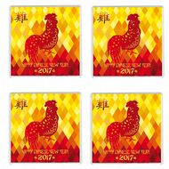 FOUR Chinese New Year 2017 Year of the Rooster Drinks Coaster Chinese New Year Gift Idea